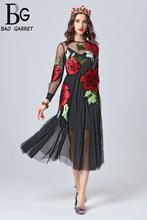 Baogarret 2019 Fashion Runway Autumn Dress Womens Long Sleeve Flower Embroidery Black Mesh Elegant Party Dresses