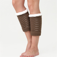 Hosiery-Cover Leg-Warmer Knee Winter Women's Plush And Wool Solid Knitted