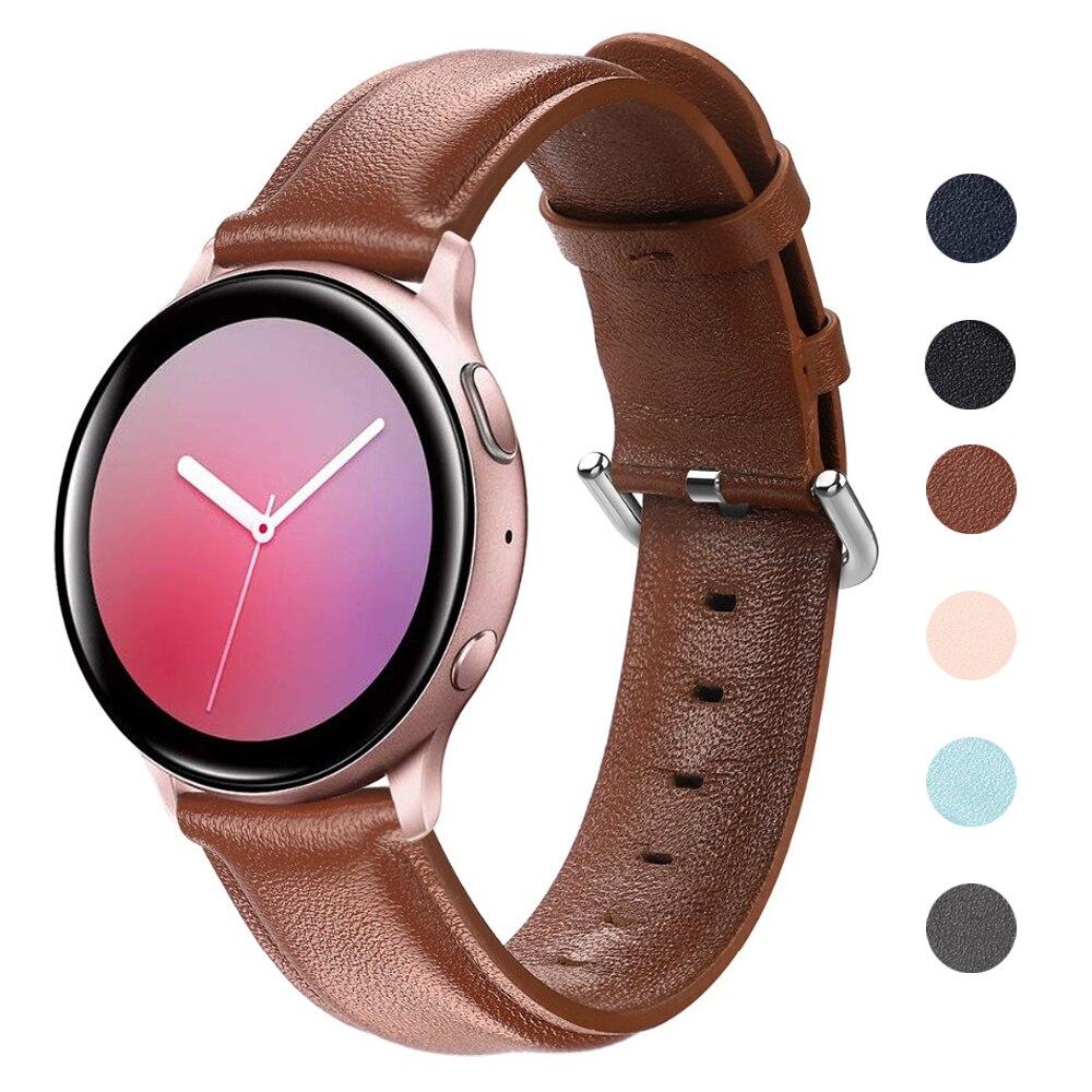 galaxy watch active 2 strap for Samsung Galaxy Watch 42mm 44mm Cow Leather Wrist Belt Smart watchband 20mm watch strap Active2 Watchbands    - AliExpress