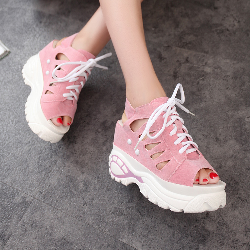 Women 39 s Fashion High Heels Raised Sandals Summer Ladies Slope with Water proof Platform Casual Fish mouth Shoes Size 35 40 in Middle Heels from Shoes