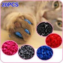 Nouvelle mode coloré chat ongles casquettes doux chat griffe doux pattes 20 PCS/lot avec colle adhésive gratuite taille XS S M LGift pour animal de compagnie