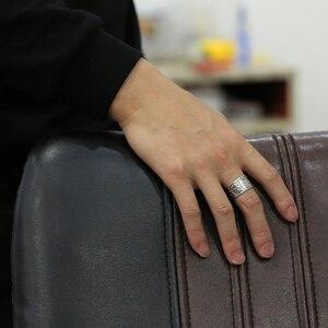 Image 5 - BALMORA ريال 999 الفضة خمر كوي المفتوحة التراص خواتم الاصبع للرجال النساء زوجين هدية خاصة البوذية سوترا مجوهرات الأزياء