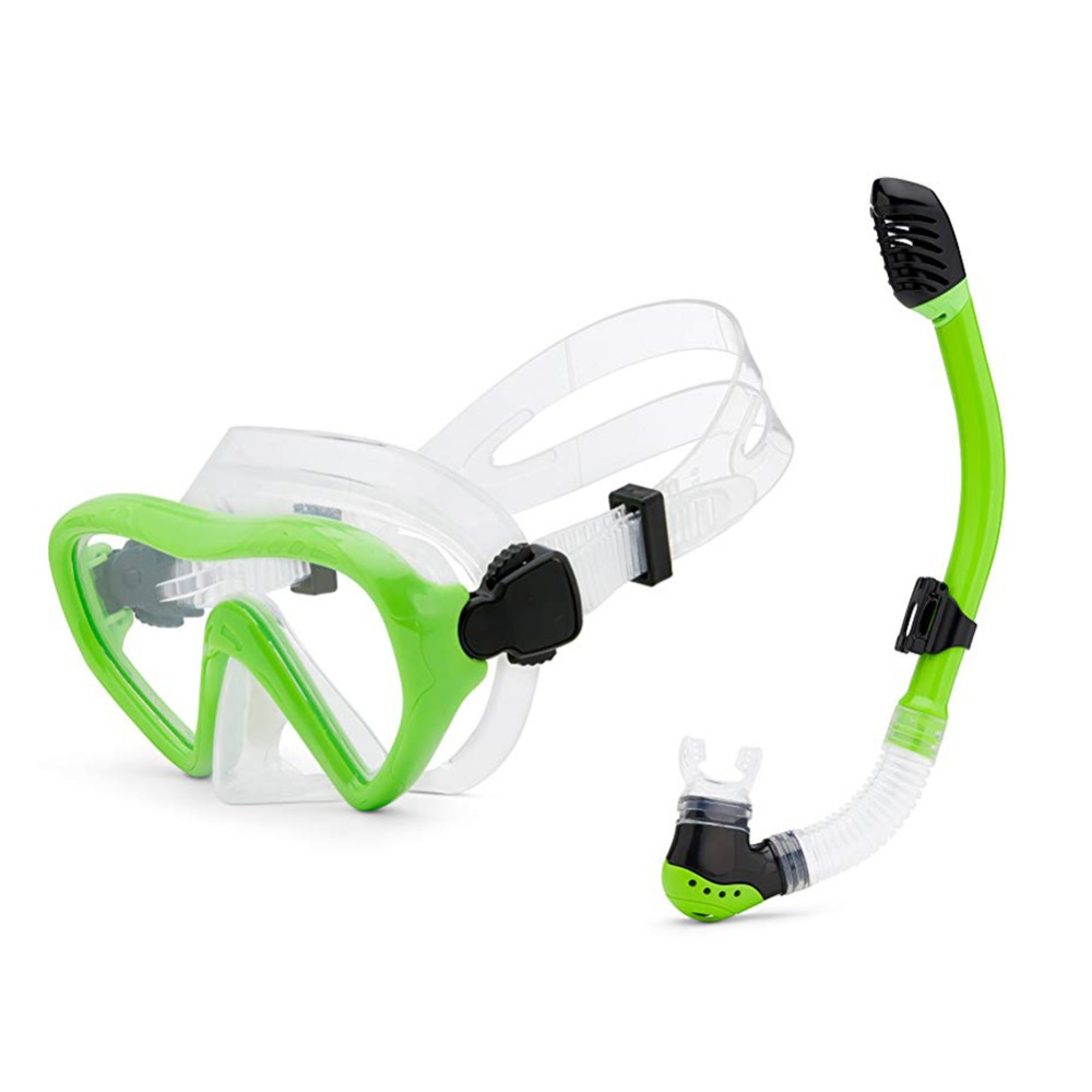 FUNTER Kids Diving Goggle Mask Breathing Tube Shockproof Anti-fog Swimming Glasses Band Snorkeling Underwater Accessories Set