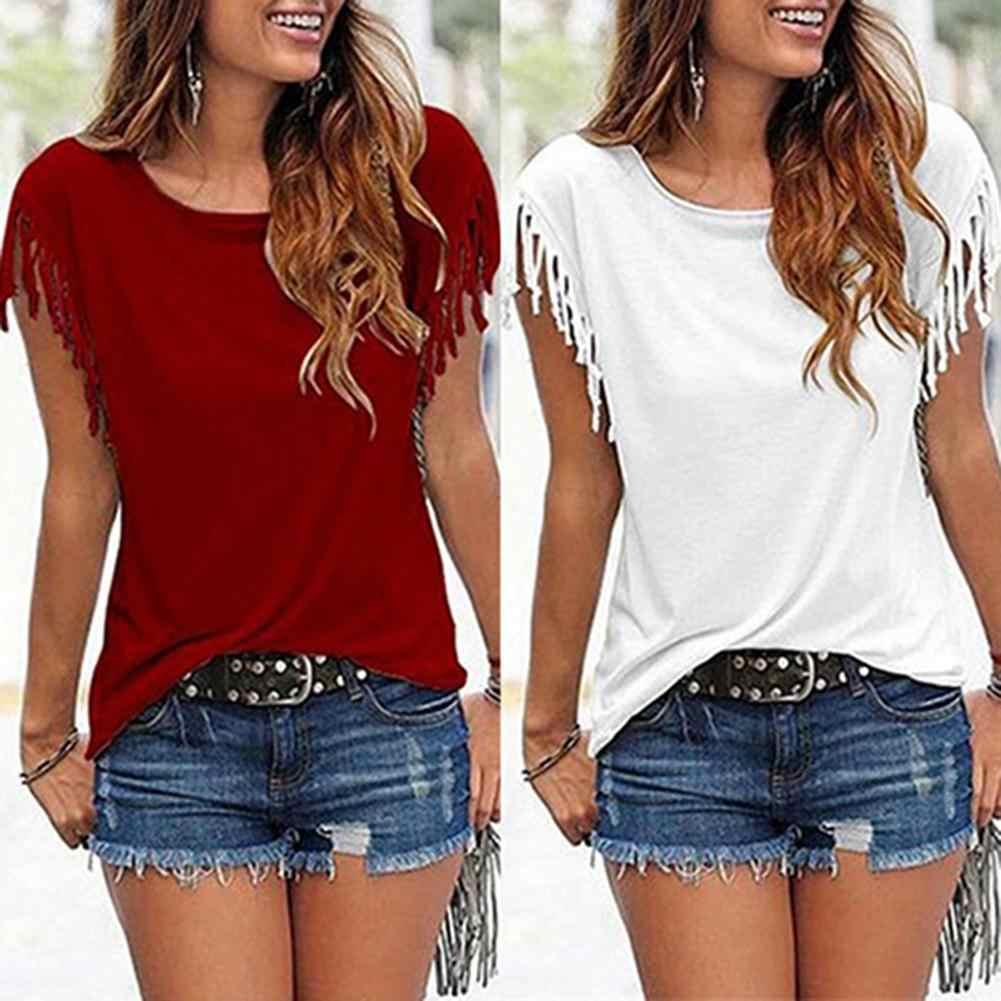 W stylu Casual, letnia damska Casual Solid Color luźny z frędzlami wokół szyi z krótkim rękawem T-Shirt bluzka bawełniana elastan damska koszulka rozmiar S-5XL