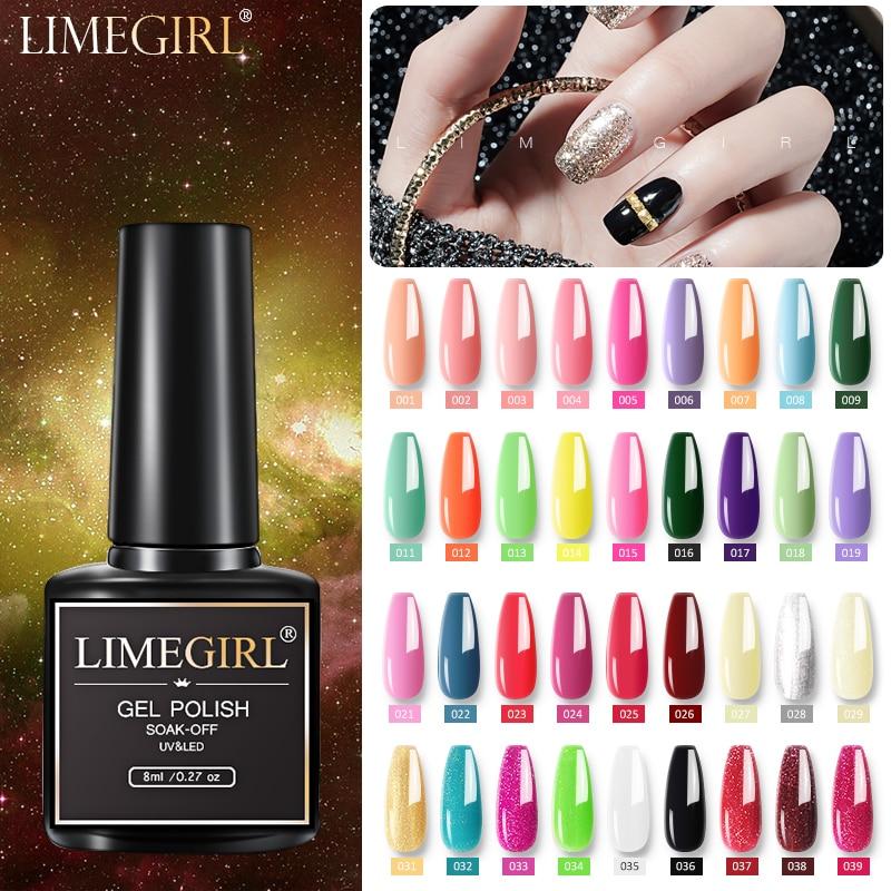 Полуперманентный Гель-лак Limegirl 8 мл для ногтей Гибридный лак для рисования для дизайна ногтей требуется УФ светодиодный базовый и топовый п...