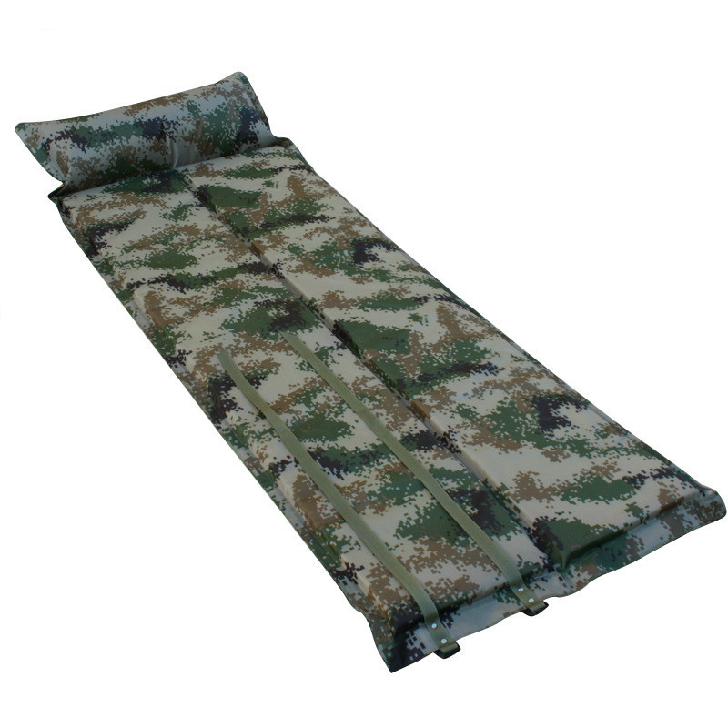 Folding Outdoor Travel Camping Cushion Cushion Inflatable Automatic Thickening Waterproof Camouflage Sleeping Pad with Pillow