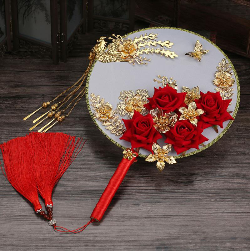 HIMSTORY Chinese Vintage  Bride Holding Flowers Round Fan Red Roses Flower Phoenix Wedding Bouquet Hand Accessories