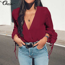 Shirt Flare-Sleeve Blouses Tops V-Neck Blusas Celmia Office Sexy Elegant Plus-Size Casual