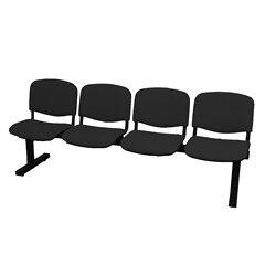 Banco à espera de quatro quadrados e estrutura de ferro na cor preta até assento e encosto estofados em tecido aran co