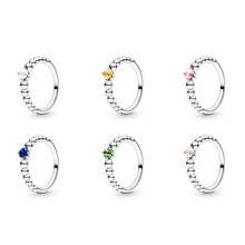 Authentic 925 Sterling Silver Ring Charm Diy Round Cz Blue Green Pink Yellow White Color Finger Ring For Women Party Jewelry 925 sterling silver dragon claw round green cz eye mens biker skull ring 9m202a