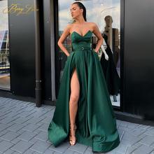 Элегантные атласные вечерние платья без бретелек с v образным