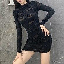 40 # femmes Sexy trou robes Style Punk Streetwear couleur unie mince mode à manches longues taille haute robe noire