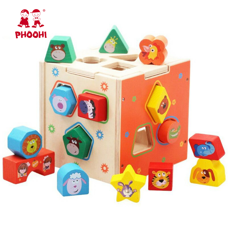 Geometric Shape Wooden Montessori Educational Toy Pairing Blocks Cartoon Box Preschool Toys For Toddler PHOOHI(China)