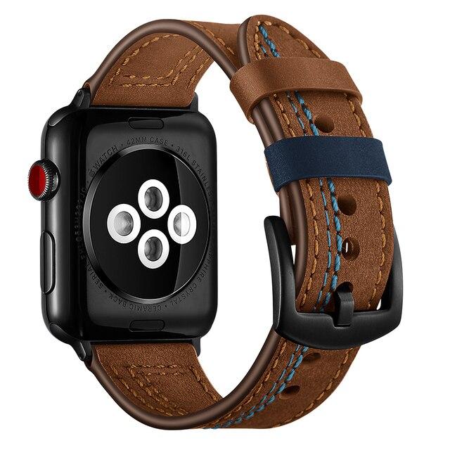 2020 nouveau Bracelet de montre en cuir véritable pour Apple Watch série 5 4 3 2 1 remplacement pour iWatch 44mm 40mm 42mm 38mm Bracelet