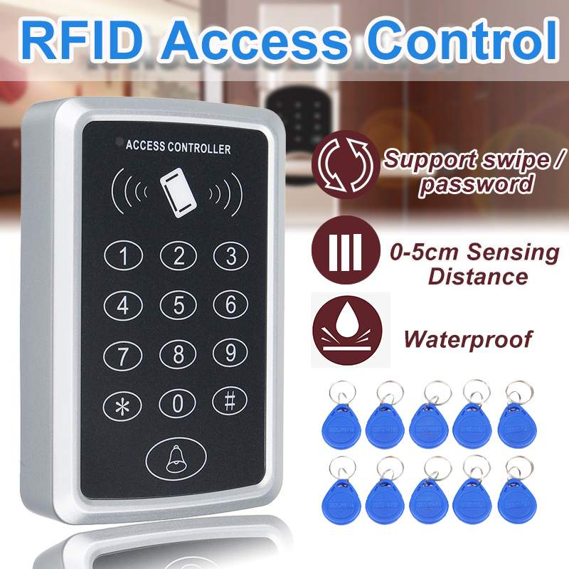 300KHz Standalone Access Controller+10pcs EM Keychains RFID Access Control Keypad Digital Panel Card Reader For Door Lock System