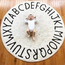 Carpet Kids Room INS Nordic Letter Play Mat Round 120cm Hand-Woven Anti-Slip Rug for Baby Decor Girl Tapete Bebe