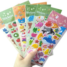 1pack/lot Lovely Korean Children's Cartoon Anime Three-dimensional Bubble Stickers Six Selections Agenda Stickers(China)