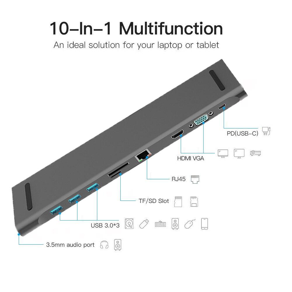 10 in 1 HUB 4K USB Type-C to USB 3.0 TF HDMI VGA RJ45 Mini DP Docking Station Laptop Docking Station For MacBook Air/MacBook Pro