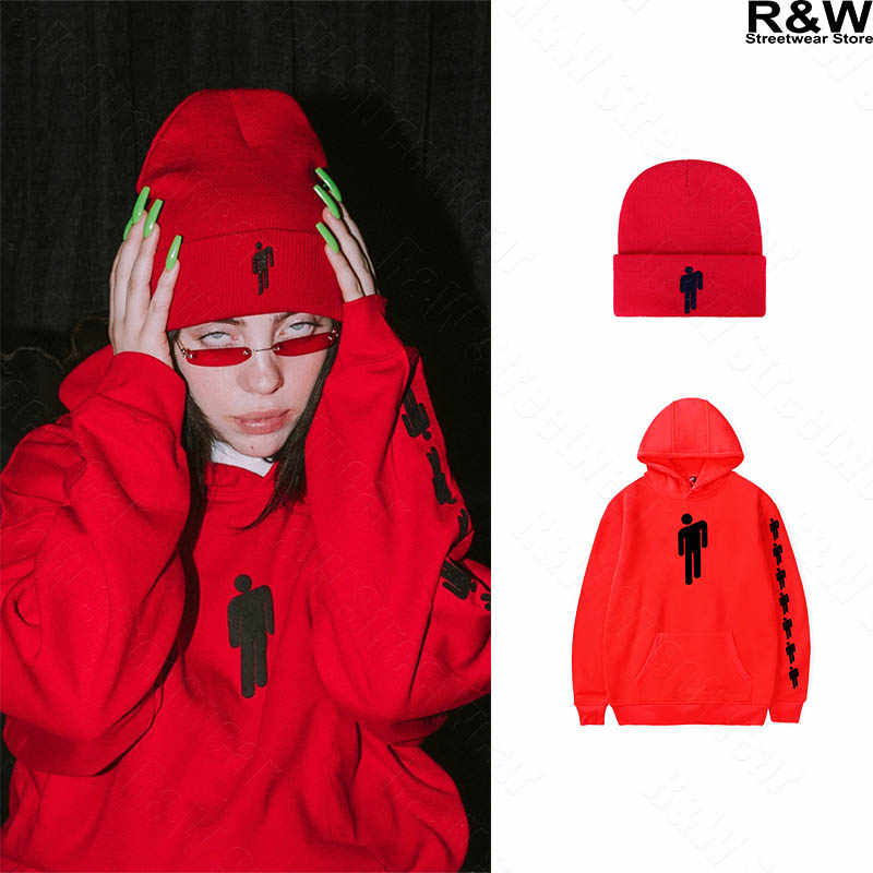 Billie Eilish hoodies women men streetwear girl red clothes harajuku shirt beanies new sweatshirts Top hat bad guy