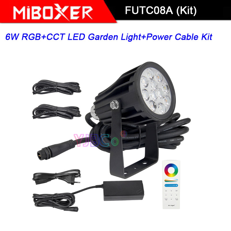 Miboxer FUTC08A 6W RGB+CCT LED Garden Light+DC24V 65W led Power Supply +Cable connector+FUT088 2.4G wireless Remote control - 3