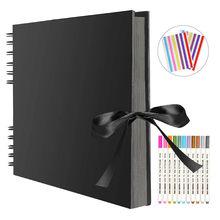 Albumy ze zdjęciami 80 czarnych stron książki z pamięcią A4 papier typu kraft DIY Scrapbooking obraz ślub urodziny prezent dla dzieci
