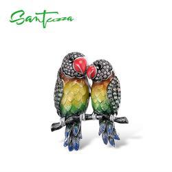 SANTUZZA Silber Brosche für Frauen Reine 925 Sterling Silber Bunte Papageien Vogel Tier Mode Trendy Schmuck Handgemachte Emaille