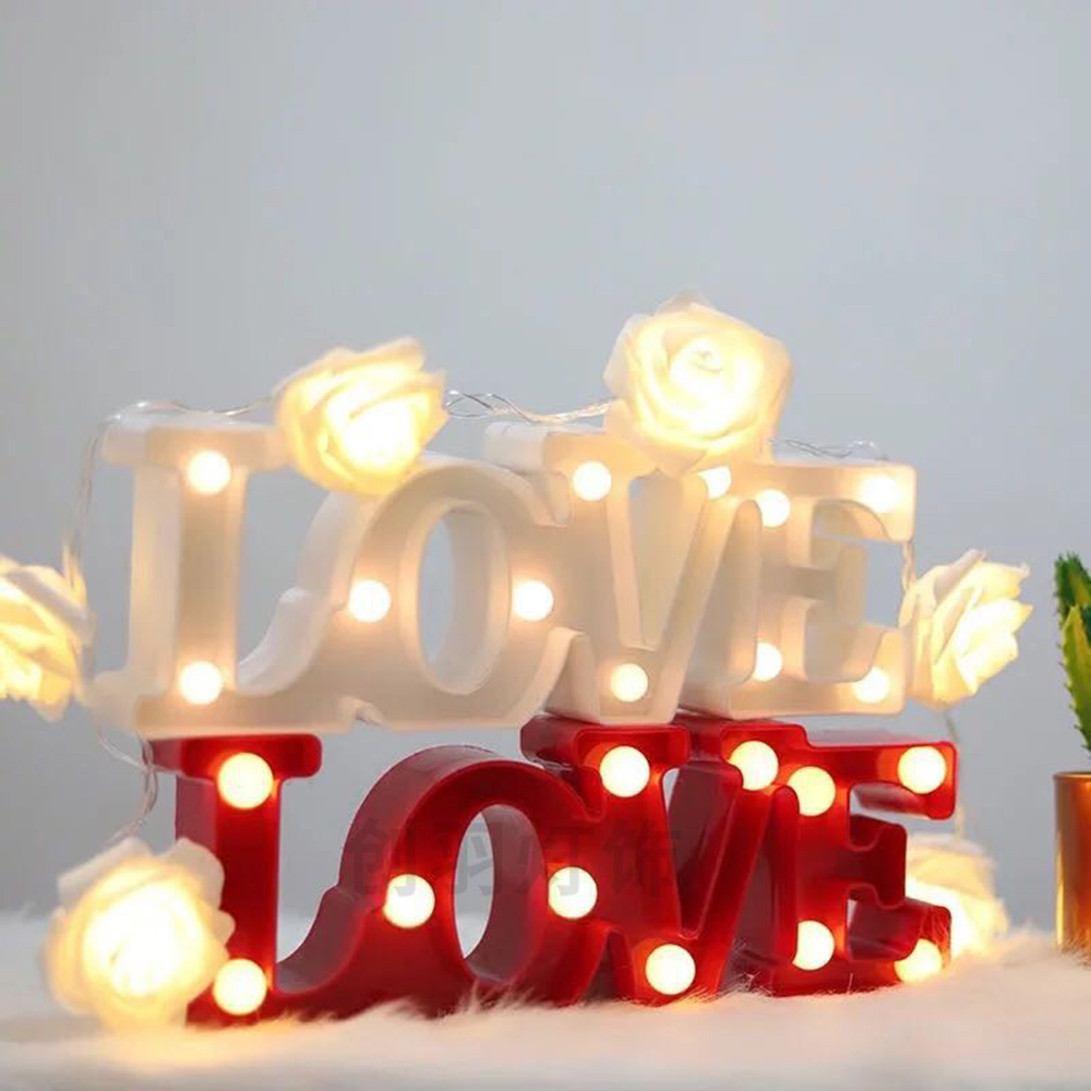 3D Love Heart LED Letter Lamps Indoor Decorative Sign Night Light Marquee Wedding Party Decor Gift Romantic 3D LED Night Lamp