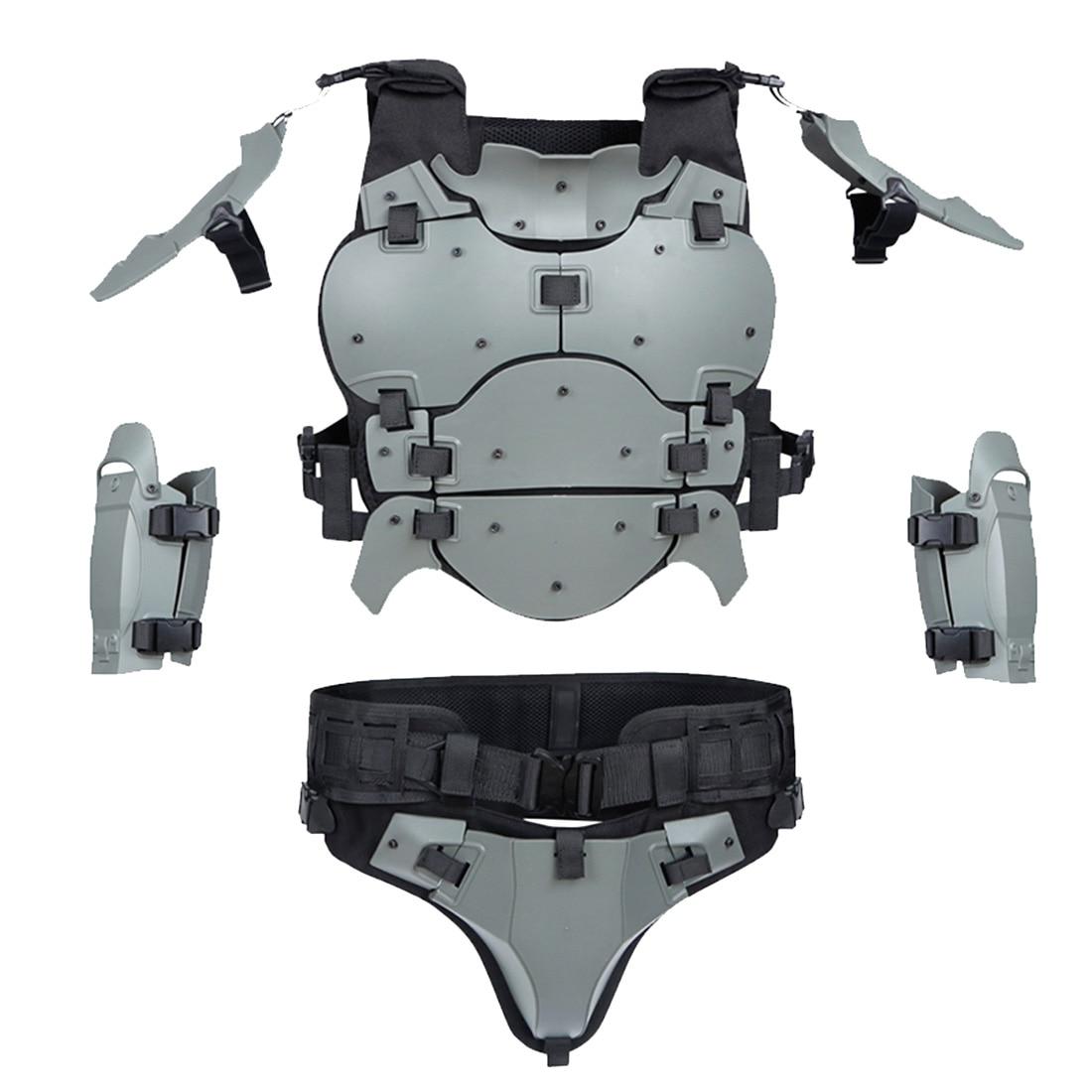 1set WST Outdoor Multi-Function Tactical Armor Set Adjustable Outdoors Tactics Accessories Elbow Pad Waist Seal - Grey Black Tan