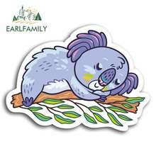 EARLFAMILY 13cm x Cute Sleeping Koala Bear Car Stickers Cartoon Oem Bumper Trunk Truck Graphics Vinyl JDM DIY Fine Decal