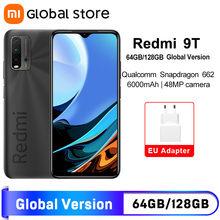 Câmera traseira 128 mah do snapdragon 128 48mp do smartphone da versão global da estreia do mundo xiaomi redmi 9t 4gb 64gb/4gb 662 gb/6gb 6000 gb