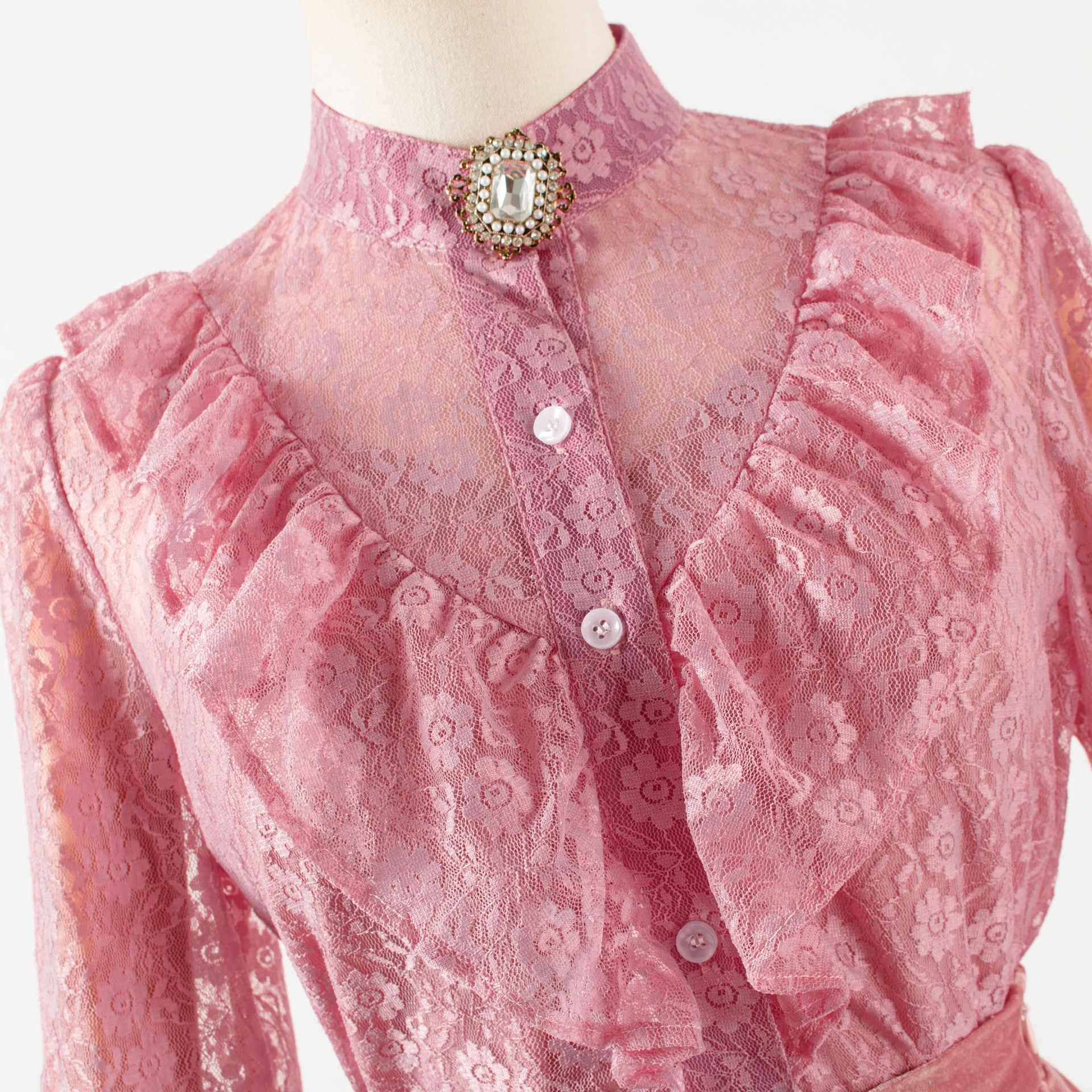 Roze shirt + rok voor vrouwen IE Lange mouw 장만월 Lee Ji Eun DEL LUNA Hotel Herfst Lente Moederschap Tops tee Zwangere