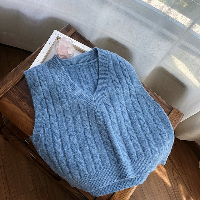 Muyogrt Autumn Sweater Vest Women's Solid Knitted Vest Korean Style Student V-neck Pullover Loose Casual Knitting Tops Outerwear 5