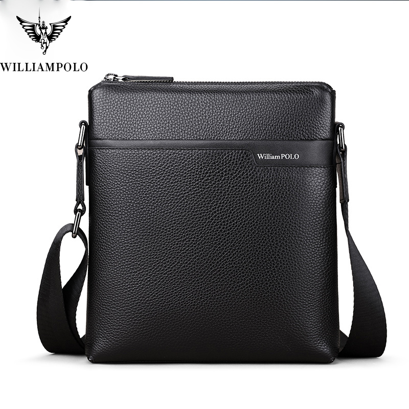WILLIAMPOLO  Cow Leather Men Messenger Bag Casual Business Vintage Men's Bag Genuine Leather Shoulder Bag Crossbody Bag-in Crossbody Bags from Luggage & Bags    1