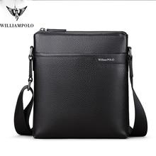 WILLIAMPOLO  Cow Leather Men Messenger Bag Casual Business Vintage Men's Bag Genuine Leather Shoulder Bag Crossbody Bag цена