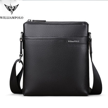 WILLIAMPOLO  Cow Leather Men Messenger Bag Casual Business Vintage Men's Bag Genuine Leather Shoulder Bag Crossbody Bag 2018 genuine cow leather men