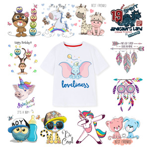 Cute Elephant Unicorn Patches Iron on Rabbit Animals Owl Clothing Patch Heat Transfers Applique DIY Boy Girl Clothes Accessories(China)