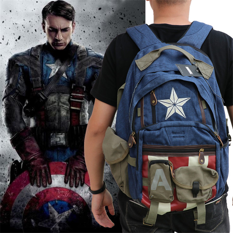 Hot New Marvel Movie The Avengers Captain America Backpack Cosplay Student Schoolbag Knapsack Fashion Packsack Bag Fans Gift