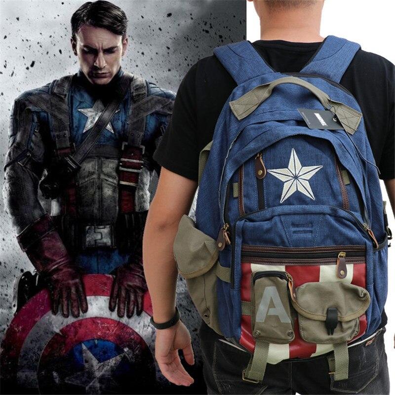 Mode unisexe Vengeurs Captain America bouclier Backpack étudiant livre cartable