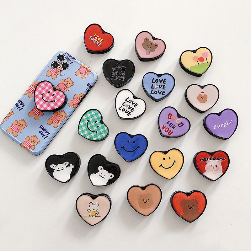 Cute Heart Folding Stand For Mobile Phone Holder For IPhone 7 Plus IPAD For Samsung For Huawei Phone Case Cartoon Grip Kichstand