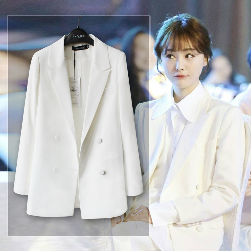 Office Ladies Suit Jacket Spring And Autumn New Shirt Wild Slim Suit Temperament Commuter Pioneer White Small Suit Female Jacket