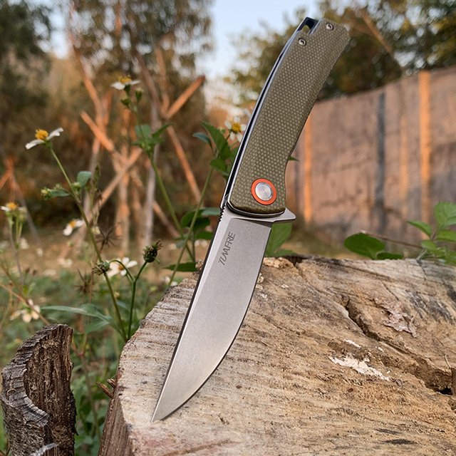 TUNAFIRE Pocket Knife High-end linen (Micarta) handle Ball Bearing Folding Blade Survival Hunting Knife Camping Portable EDC 2