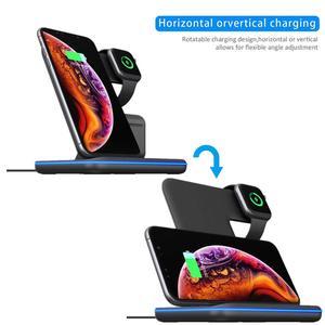 Image 3 - Suporte com carregador sem fio qi 15w, plataforma de carregamento rápido para apple watch 5 4 3 2 airpods pro iphone 11 pro max xs max xr,