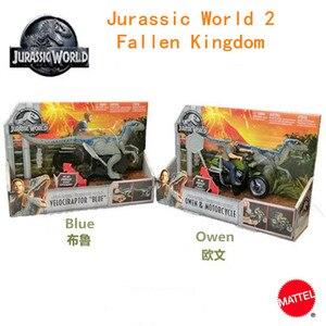 Игрушки Mattel из серии «Мир Юрского периода 2», Фигурка динозавра, Оуэна и Велоцираптора, игрушка синего динозавра FMM32