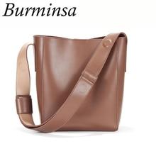 Burminsa Genuine Leather Wide Strap Bucket Shoulder Bags Women Vintage 2 Sets Purses And Handbags Ladies Luxury Messenger
