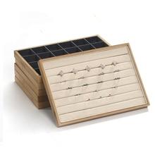 竹ベルベットのジュエリーディスプレイトレイリングイヤリングネックレスブレスレットペンダントディスプレイオーガナイザージュエリー収納ボックス