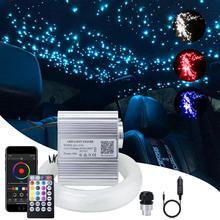 Car use Bluetooth app 10W Twinkle RGBW Fiber optic light engine LED starry ceiling lights kit 150/200pcs 0.75mm 2M with 28key RF