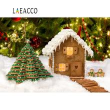 Laeacco Christmas Backdrops For Photography Cartoon House Tree Dolls Light Snow Baby Portrait Backgrounds Photocall