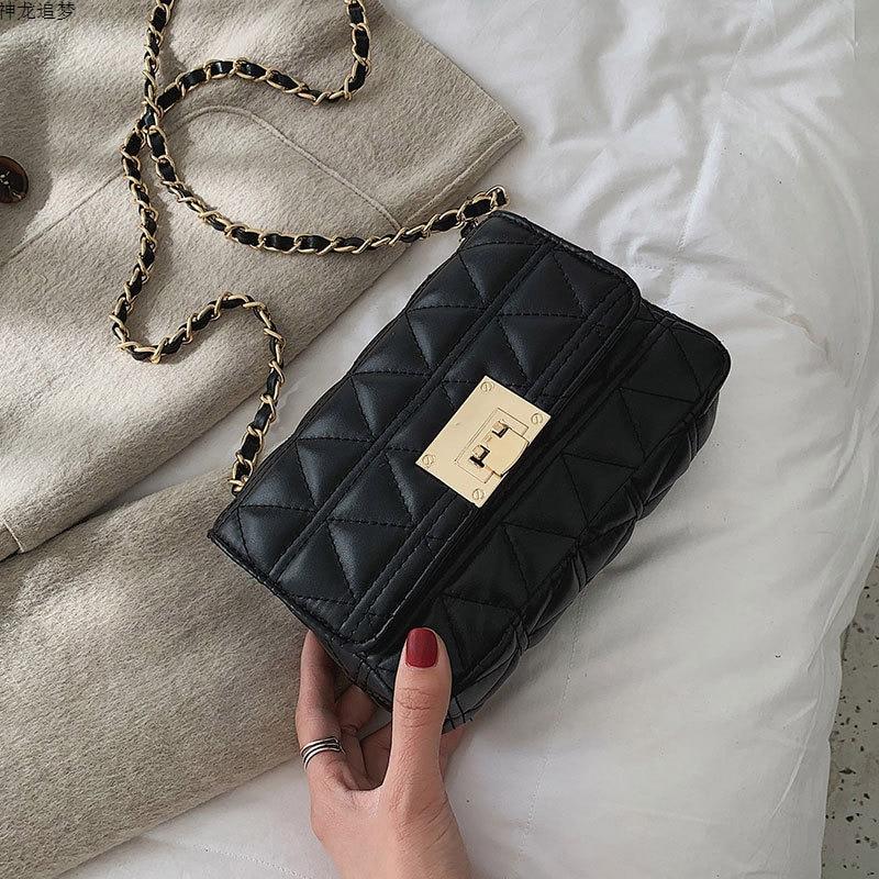 Female Crossbody Bags For Women 2020 Quality PU Leather Luxury Brand Handbags Designer Ladies Chains Lock Shoulder Messenger Bag