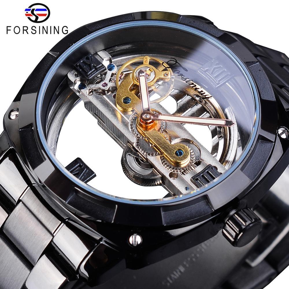 Forsining Steampunk Black Mechanical Watch Men Automatic Skeleton Transparent Gear Vintage Sport Business Steel Belts Wristwatch