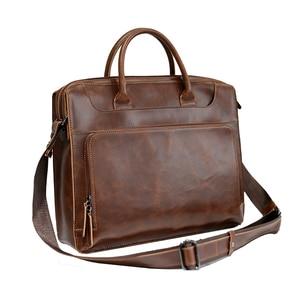 Image 5 - Brand Mens Briefcase Handbag Crazy Horse Pu Leather Messenger Travel Bag Business Men Tote Bags Man Casual Crossbody Briefcases